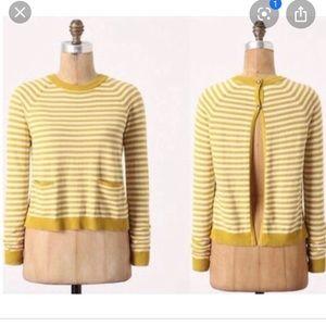 CHARLIE & ROBIN L Yellow Stripe Rearward Sweater
